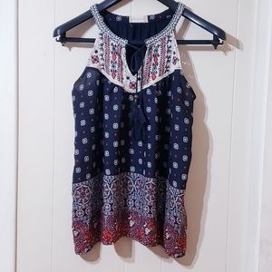 Altar'd State Tank Top Halter Blue Red White Sz M